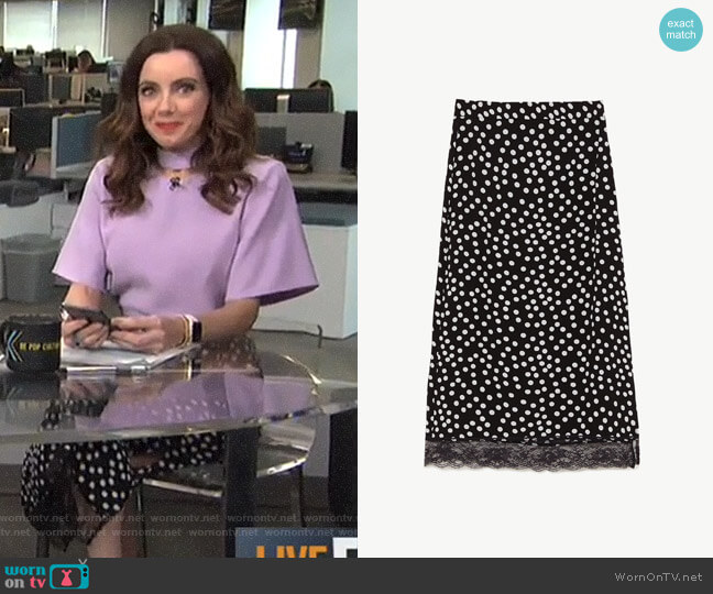 Midi Skirt with Lace Trim by Zara worn by Melanie Bromley  on E! News