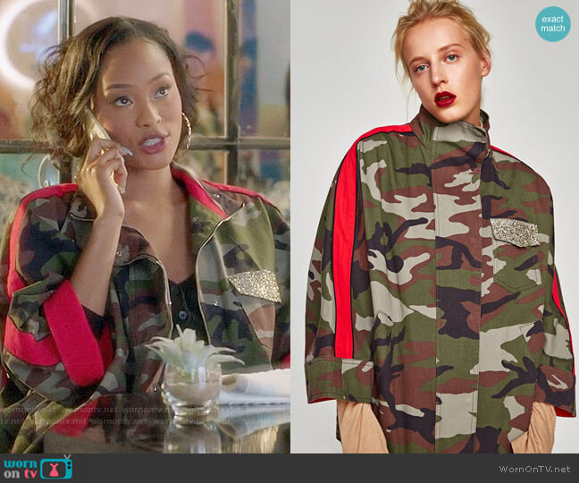 Zara Overshirt with Contrasting Bands worn by Tangey Turner (Pepi Sonuga) on Famous in Love