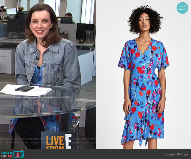 Printed Dress with Frills by Zara worn by Melanie Bromley  on E! News