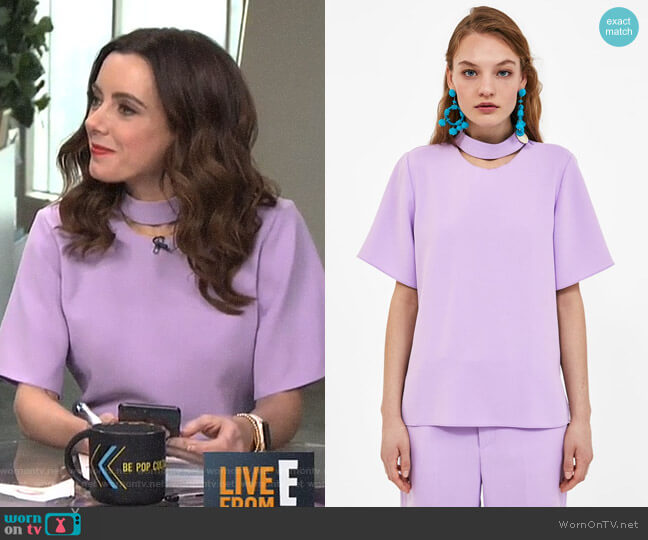 Top with Button Detail by Zara worn by Melanie Bromley  on E! News