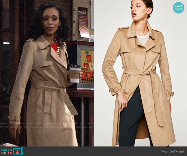 Zara Faux Suede Trench Coat worn by Hilary Curtis (Mishael Morgan) on The Young & the Restless