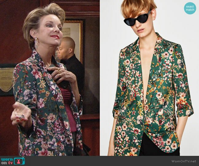 Zara Flowing Floral Blazer worn by Gloria Abbott Bardwell (Judith Chapman) on The Young & the Restless