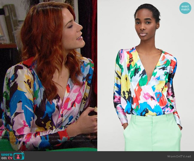 Zara Floral Print Bodysuit worn by Courtney Hope on The Bold & the Beautiful