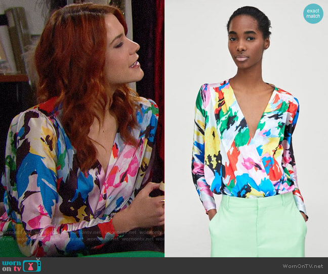 Zara Floral Print Bodysuit worn by Sally Spectra (Courtney Hope) on The Bold & the Beautiful