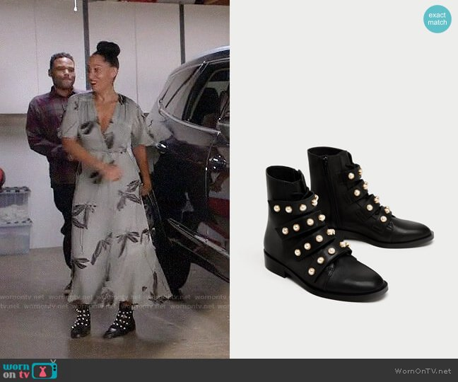 Zara Leather Ankle Boots with Faux Pearls worn by Rainbow Johnson (Tracee Ellis Ross) on Blackish