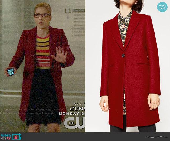Zara Masculine Coat worn by Emily Bett Rickards on Arrow