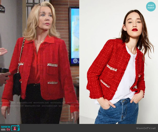 Zara Tweed Jacket worn by Melody Thomas-Scott on The Young & the Restless