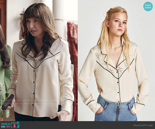 Zara Star Print Shirt with Contrasting Piping worn by Mary Steenburgen on Last Man On Earth