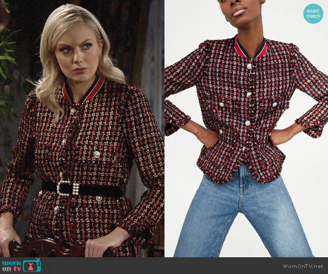 Zara Tweed Jacket with Striped Detail worn by Abby Newman (Melissa Ordway) on The Young & the Restless