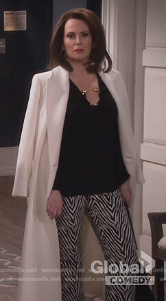 Karen's black ring embellished top and zebra stripe pants on Will and Grace