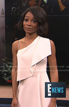 Zuri's white one shoulder midi dress on E! News
