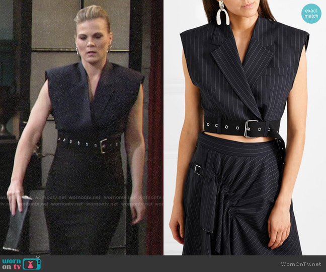3.1 Phillip Lim Cropped Wool Vest worn by Phyllis Newman (Gina Tognoni) on The Young & the Restless