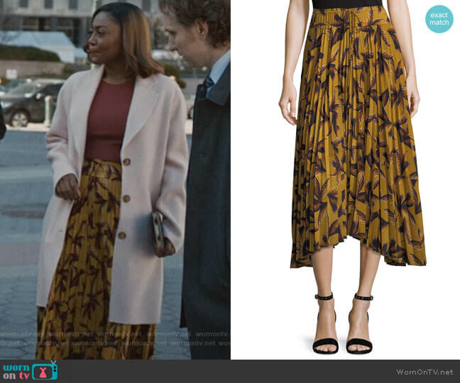 Maya Printed Pleated A-Line Midi Skirt by ALC worn by Patina Miller on Madam Secretary