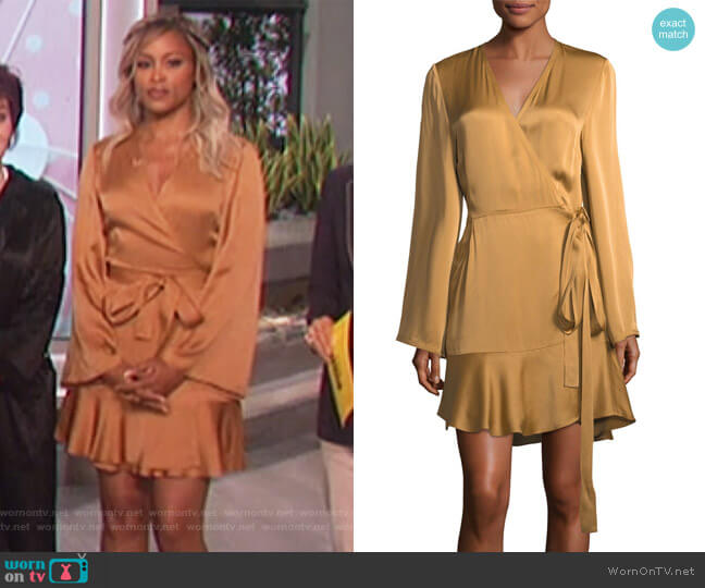 Whitney Long-Sleeve Satin Wrap Dress by ALC worn by Eve on The Talk