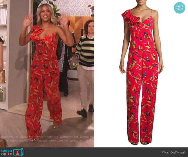 Brielle Floral Silk Jumpsuit by Amur worn by Eve  on The Talk