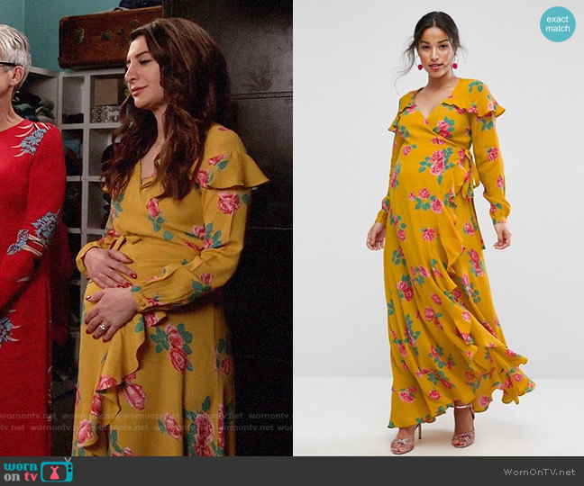 ASOS Maternity Long Sleeve Wrap Maxi Dress in Bold Floral worn by Nasim Pedrad on New Girl