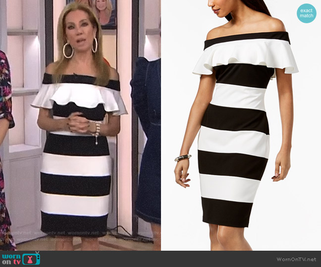 Off-The-Shoulder Striped Dress by Adrianna Papell worn by Kathie Lee Gifford  on Today