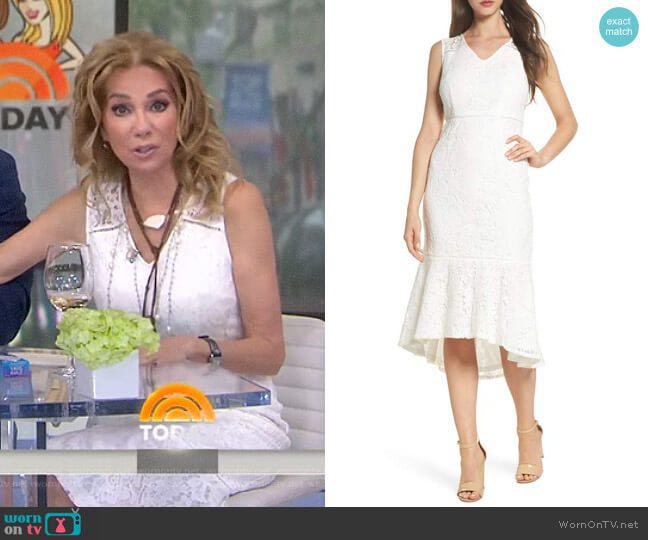 Cynthia Lace Flounce Hem Sheath Dress by Adrianna Papell worn by Kathie Lee Gifford on Today