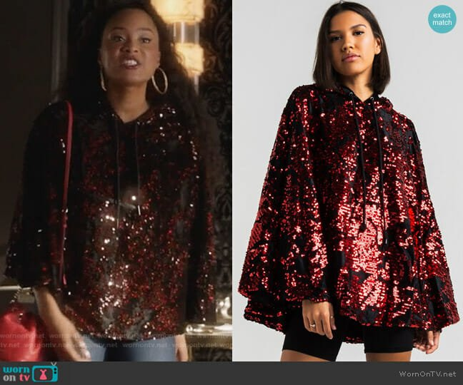 Ammo Light Parade Sequin Hooded Poncho worn by Pepi Sonuga on Famous in Love