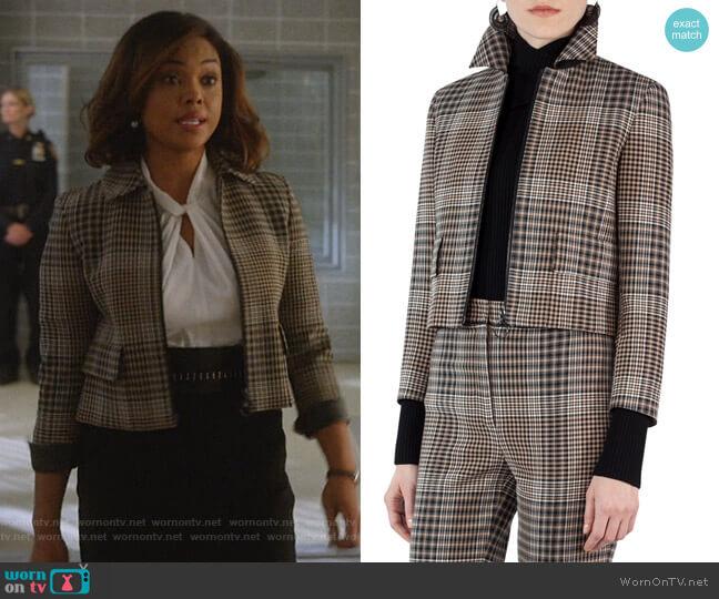 Glen Plaid Zip-Front Jacket by Akris Punto worn by Jasmine Gooden (Sharon Leal) on Instinct
