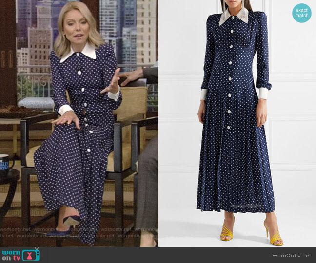 Pleated Polka-Dot Silk Midi Dress by Alessandra Rich worn by Kelly Ripa on Live with Kelly & Ryan