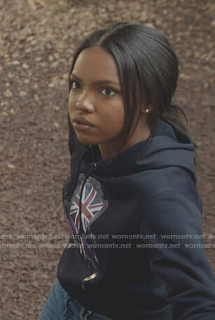 Alex's black union jack chair print hoodie on Star