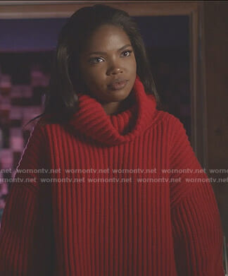 Alex's red oversized turtleneck sweater on Star