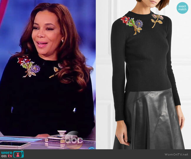 Embellished embroidered wool sweater by Alexander McQueen worn by Sunny Hostin (Sunny Hostin) on The View