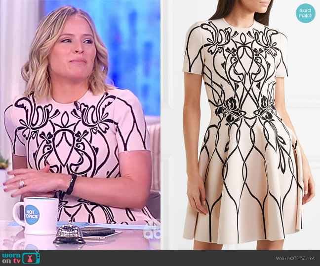 Jacquard-knit mini dress by Alexander McQueen worn by Sara Haines on The View