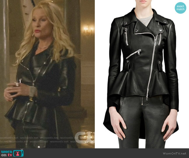 Leather Peplum Moto Jacket by Alexander McQueen worn by Nicollette Sheridan on Dynasty