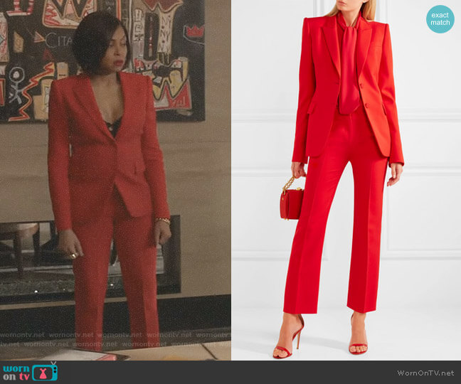 Wool-Blend Blazer and Skinny Cropped Suiting Pants by Alexander McQueen worn by Taraji P. Henson on Empire
