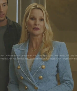 Alexis's blue double breasted blazer on Dynasty