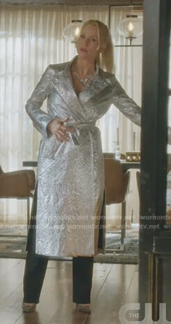 Alexis's metallic trench coat on Dynasty