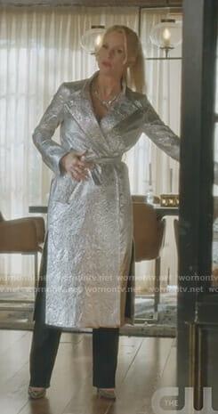 Alexis's metallic trench coat on Dynasty