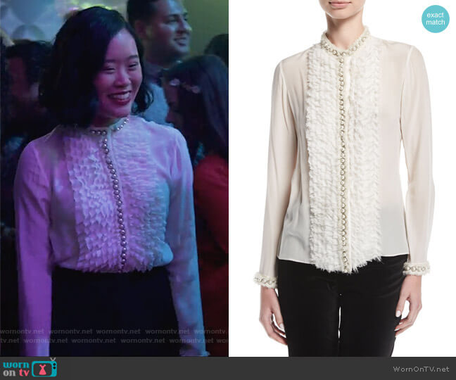 Arminda Button-Down Ruffled Chiffon Blouse by Alice + Olvia worn by Michele Selene Ang on 13 Reasons Why