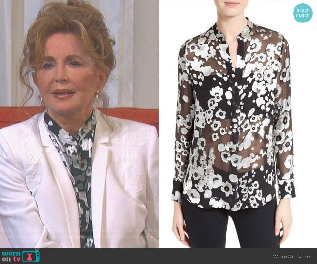 Belle Print Sheer Oversize Tunic by Alice + Olivia worn by Maggie Horton (Suzanne Rogers) on Days of our Lives