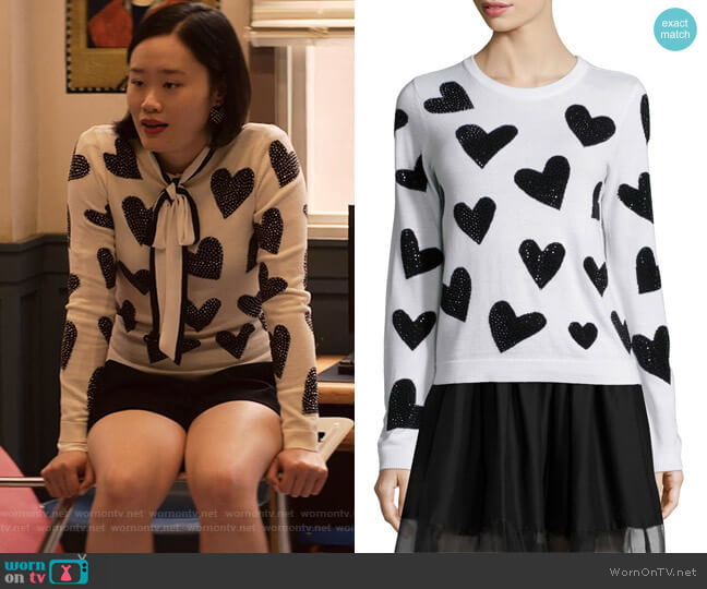 Carey Sequin-Heart Wool Pullover Sweater by Alice + Olivia worn by Courtney Crimsen (Michele Selene Ang) on 13 Reasons Why