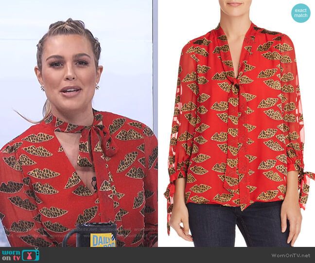 Sheila Lips Burnout Tie-Neck Top by Alice + Olivia x Donald Robertson worn by Carissa Loethen Culiner  on E! News