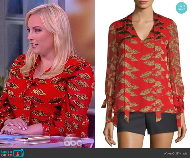 Donald Sheila Tie-Neck Blouse by Alice + Olivia worn by Meghan McCain  on The View