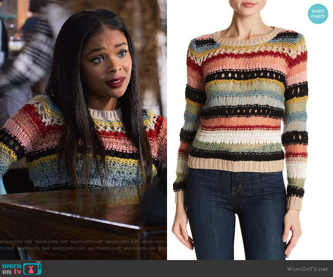 Carly Mixed Yarn Long Sleeve Sweater by Alice + Olivia worn by Ajiona Alexus on 13 Reasons Why