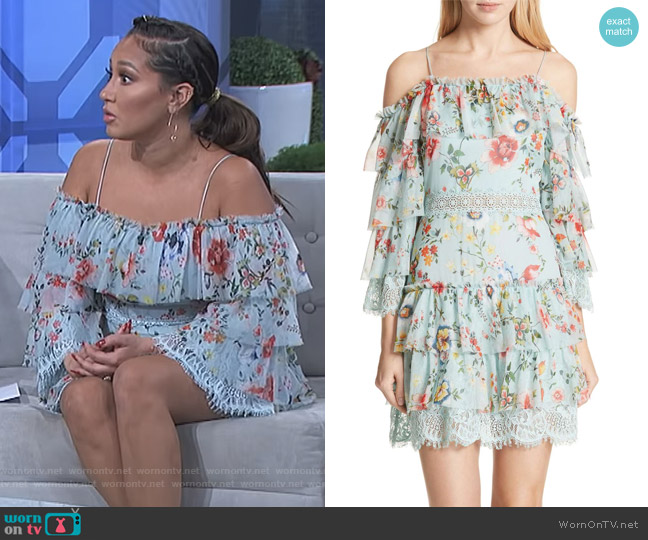 Santos Off the Shoulder Tiered Silk Dress by Alice + Olivia worn by Adrienne Houghton  on The Real