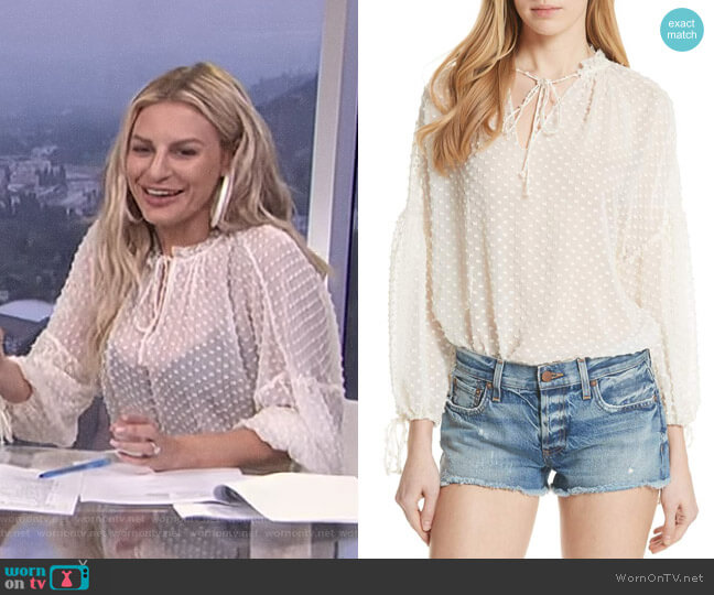 Julius Swiss Dot Silk Blend Blouson Top by Alice + Olivia worn by Morgan Stewart on E! News