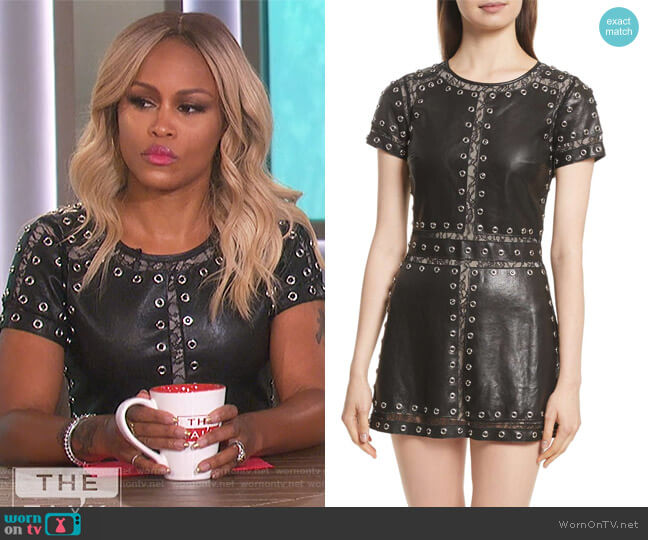 Tahlia Embellished Leather Panel A-Line Dress by Alice + Olivia worn by Eve on The Talk
