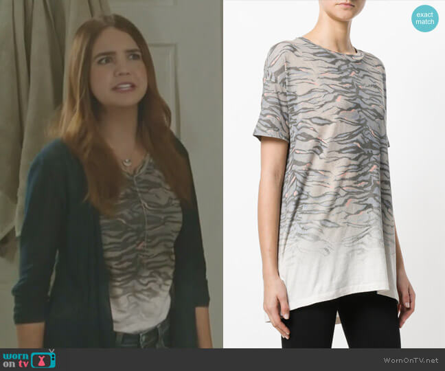 Tiger Stripes Print Loose Fit T-shirt by All Saints worn by Grace Russell (Bailee Madison) on Good Witch