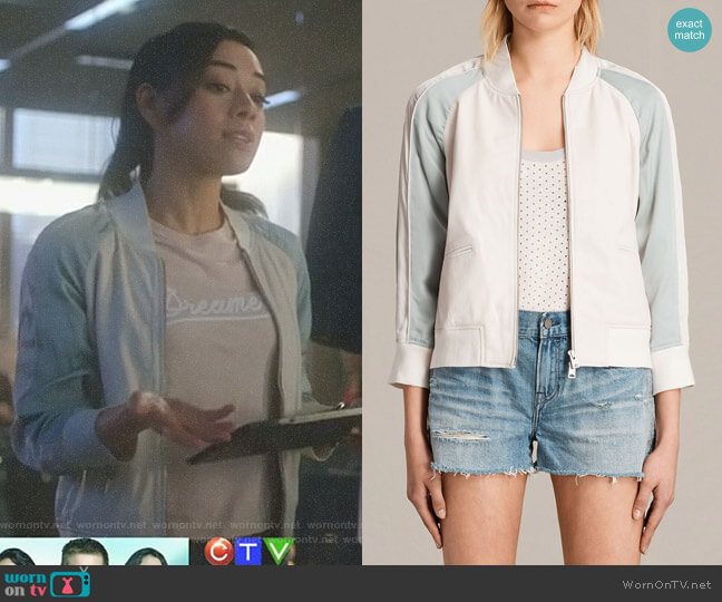 Varley Leather Bomber Jacket by All Saints worn by Aimee Garcia on Lucifer