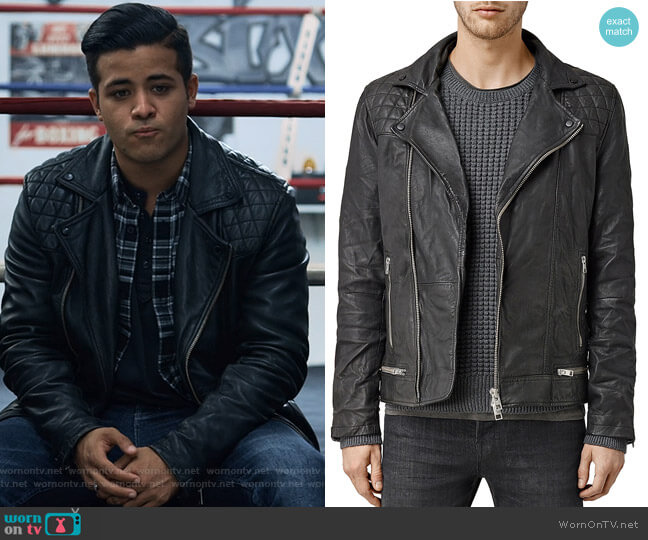 Conroy Leather Biker Jacket by All Saints worn by Christian Navarro on 13 Reasons Why