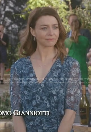 Amelia's navy floral ruched side dress on Grey's Anatomy