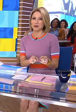 Amy's short sleeve knitted top and skirt on Good Morning America