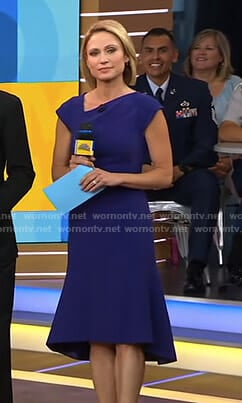Amy's navy asymmetric dress on Good Morning America
