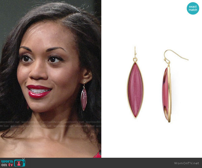 Aqua Brynnie Marquis Drop Earrings worn by Mishael Morgan on The Young & the Restless